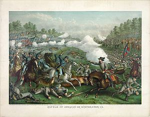 Third Battle of Winchester - Image: Battle of Opequan by Kurz & Allison