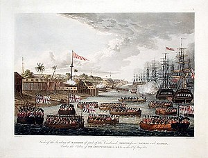 First Anglo-Burmese War - British naval force entered the harbour of Rangoon in May 1824