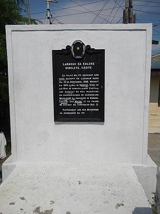 Battle of Noveleta - Memorial stone commemorating the battle