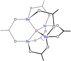 Schematic structure of basic beryllium acetate