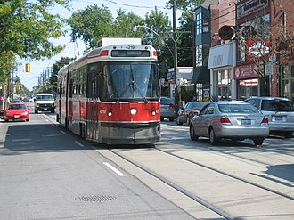 Queen Street (Toronto) - A streetcar running in The Beaches section of Queen Street East