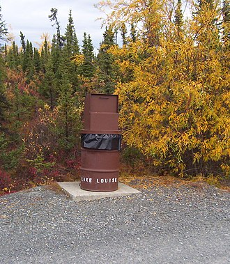 "Bear danger - The ""postal box"" style of bear-resistant garbage is used in many parks and campgrounds"