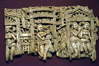 Begram ivories - Image: Begram Decorative plaque from a chair or throne, ivory, c.100 BCE