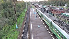 Bekasovo-1 station (view to west part of low platform from pedestrian overpass).JPG