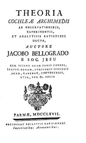 Giacopo Belgrado - Image: Belgrado Theoria cochleae Archimedis ab observationibus, experimentis, et analyticis rationibus ducta, 1767 138040