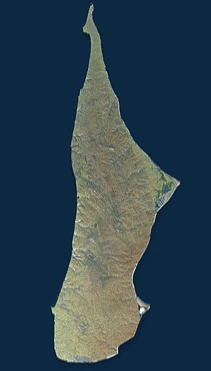 Belkovsky Island - Landsat view of Belkovsky Island in the Anzhu subgroup.