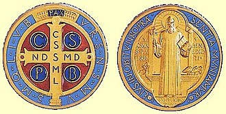 Benedict of Nursia - Benedict depicted on a Jubilee Saint Benedict Medal for the 1400th anniversary of his birth in 1880