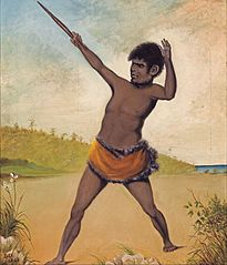 Jack, a Tasmanian Aboriginal, holding a club
