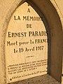 Berlancourt (Aisne) calvaire commémoratif Ernest Paradis, détail plaque.jpg