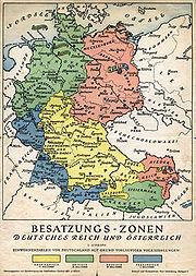 После Второй мировой войны: Разделение Германии и Австрии на зоны оккупации