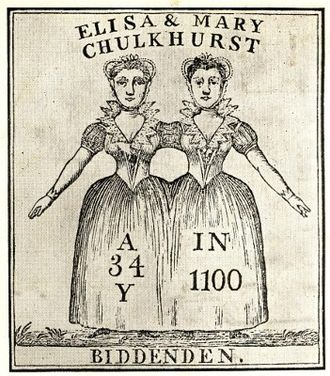 """Biddenden Maids - Illustration from the 1808 broadside. Although the image caption uses the spelling """"Elisa"""", the accompanying text gives the name as """"Eliza""""."""