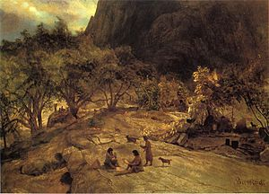 Miwok - Painting of Sierra Miwok at the Mariposa Indian Encampment, Yosemite Valley by Albert Bierstadt