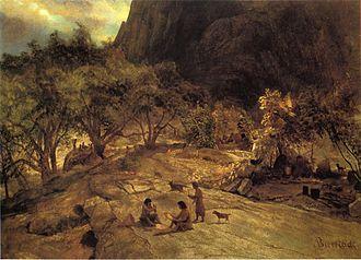 Yokuts - Mariposa Indian Encampment Yosemite Valley California, by Albert Bierstadt