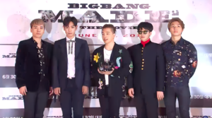 Big Bang in 2016 at their press conference for Big Bang Made From left to right: Seungri, T.O.P, Taeyang, G-Dragon, and Daesung