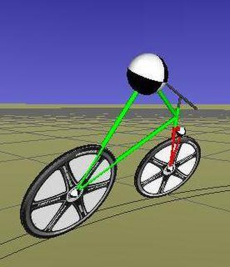 Bicycle and motorcycle dynamics - A computer-generated, simplified model of bike and rider demonstrating an uncontrolled right turn.