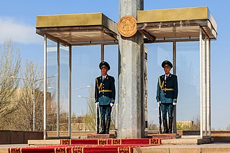 Armed Forces of the Kyrgyz Republic - Military guard of honor near a monument in Bishkek's main square