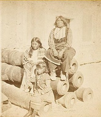 Buffalo Hunters' War - Black Horse with his wife and child at Fort Marion, Florida.