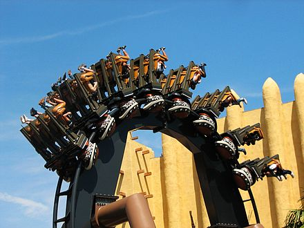 An inversion on Black Mamba (2006) at Phantasialand in Bruhl, Germany Black mamba looping.jpg