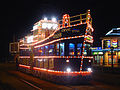 Illuminated tram in Blackpool
