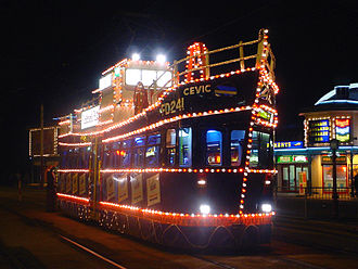 Blackpool Tramway - Illuminated tram 633, rebuilt in the shape of a fishing trawler