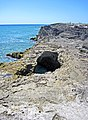 Blowhole in aragonitic limestone (just east of The Notch, southern margin of San Salvador Island, Bahamas) 2 (16039705832).jpg