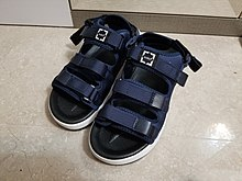Blue and black sandal in home.jpg