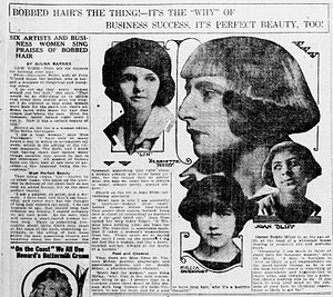 "Bob cut - A 1920 newspaper article proclaims ""Bobbed Hair's the Thing!"""