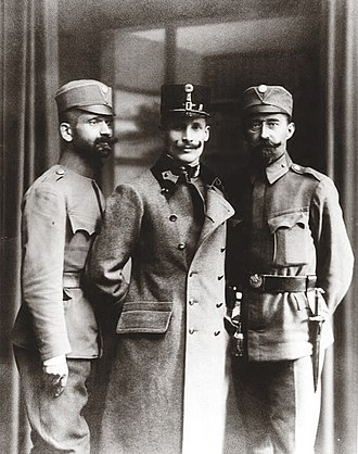 Polish–Ukrainian War - Dmytro Vitovsky, first commander of the Ukrainian Galician Army, flanked by two officers, 1918.