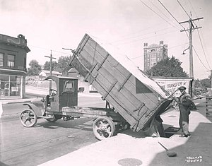 Coal bin - Coal delivery in 1921 to an underground coal bin through an opening in the pavement