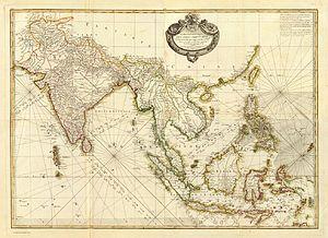 Rigobert Bonne - Carte hydro-geo-graphique des Indes Orientales en deca et au dela du Gange avec leur archipel, Paris 1771