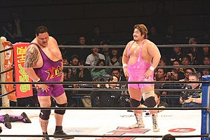 Yutaka Yoshie - Yoshie (right) in the ring with frequent tag team partner Akebono