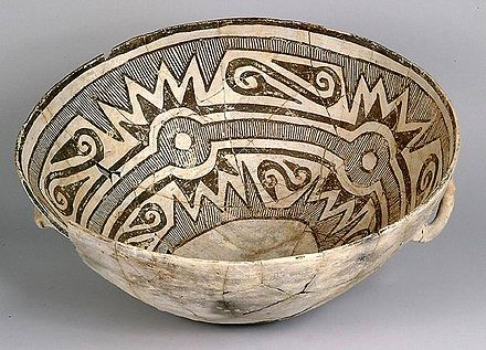 Chaco Culture bowl, 11th to 13th centuries, Pueblo Alto, Chaco Canyon Bowl Chaco Culture NM USA.jpg