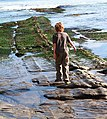 Boy walking on rocks at bowling ball beach.jpg