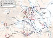 A map showing Union actions and Stuart's responses at the Battle of Brandy Station