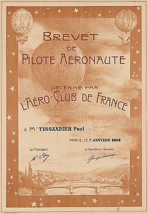 Aéro-Club de France - Balloon pilot's licence issued by the Aéro-Club de France to Mr. Tissandier in 1904.