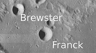 Brewster (crater) - Brewster Crater is on the left on the photo and is located northwest of Franck