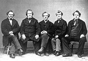 Joseph Young - The five sons of John and Nabby Young From left to right: Lorenzo Dow, Brigham, Phineas H., Joseph, and John.