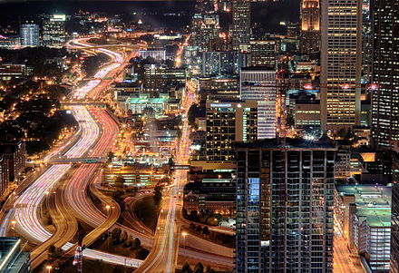 The Downtown Connector, seen at night in Midtown Bright Atlanta.jpg