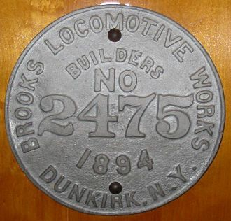 Brooks Locomotive Works - Builder's plate from Brooks Locomotive Works, 1894