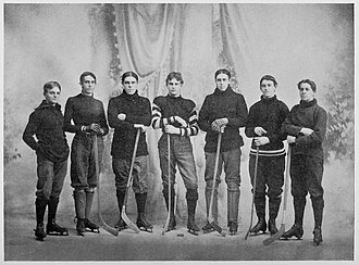 Brown Bears men's ice hockey - First Brown University hockey team in 1897–98. From left: Robert Steere, Harris Bucklin, Jesse Pevear, Irving Hunt, Albert Barrows, Charles Cooke, Horace Day.
