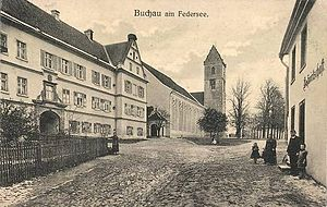 Buchau Abbey - The former abbey and monastic church in the late 19th century