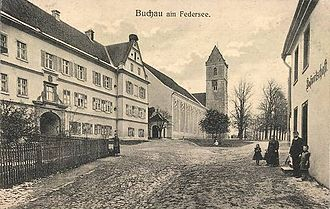 Bad Buchau - The convent and abbey church in the late 19th century