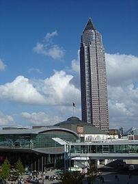 The Frankfurt Book Fair with the fair's tower ...
