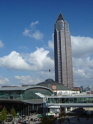 Frankfurt Book Fair - The Frankfurt Book Fair with the fair's tower (Messeturm, 2004)