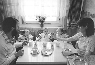 Sub-replacement fertility - Woman and her husband, both medical students, and their triplets in the East Germany (GDR) in 1984. Some countries have had state policies to encourage births among educated women.