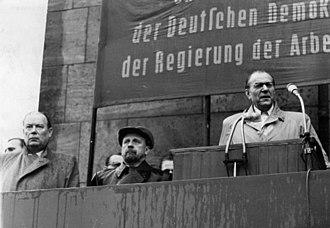 Wilhelm Zaisser - Zaisser (left) beside Ulbricht (middle), 1953