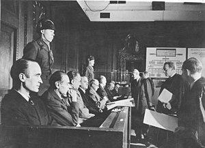 Krupp Trial - Defendants at the Krupp Trial, from left; Alfried Krupp, Ewald Löser, Eduard Houdremont, Erich Müller, Friedrich Janssen, Karl Pfirsisch and Karl Eberhardt.