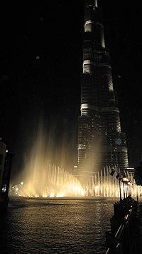 Burj Khalifa Dancing Water Fountain show (8278177960).jpg