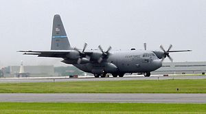 New Castle Air National Guard Base - Lockheed C-130H-LM Hercules (AF Ser. No. 84-0213) from the 142nd Airlift Squadron, 166th Airlift Wing, Delaware Air National Guard moments after landing on 5 June 2008 at New Castle Air National Guard Base, Delaware