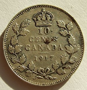 Dime (Canadian coin) - A 1917 dime featuring King George V